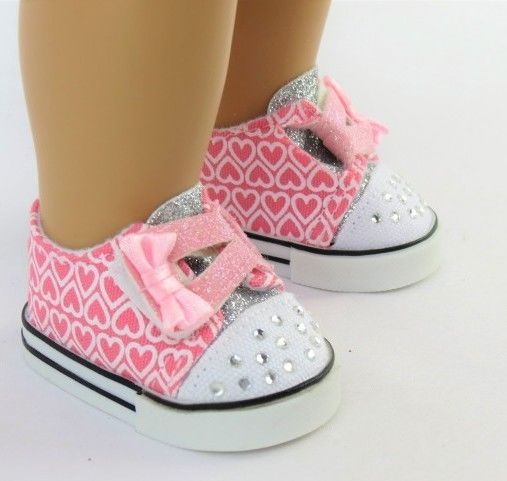 5c68061464962 Pink Hearts Sneakers Shoes for American Girl 18 inch Doll Clothes ...