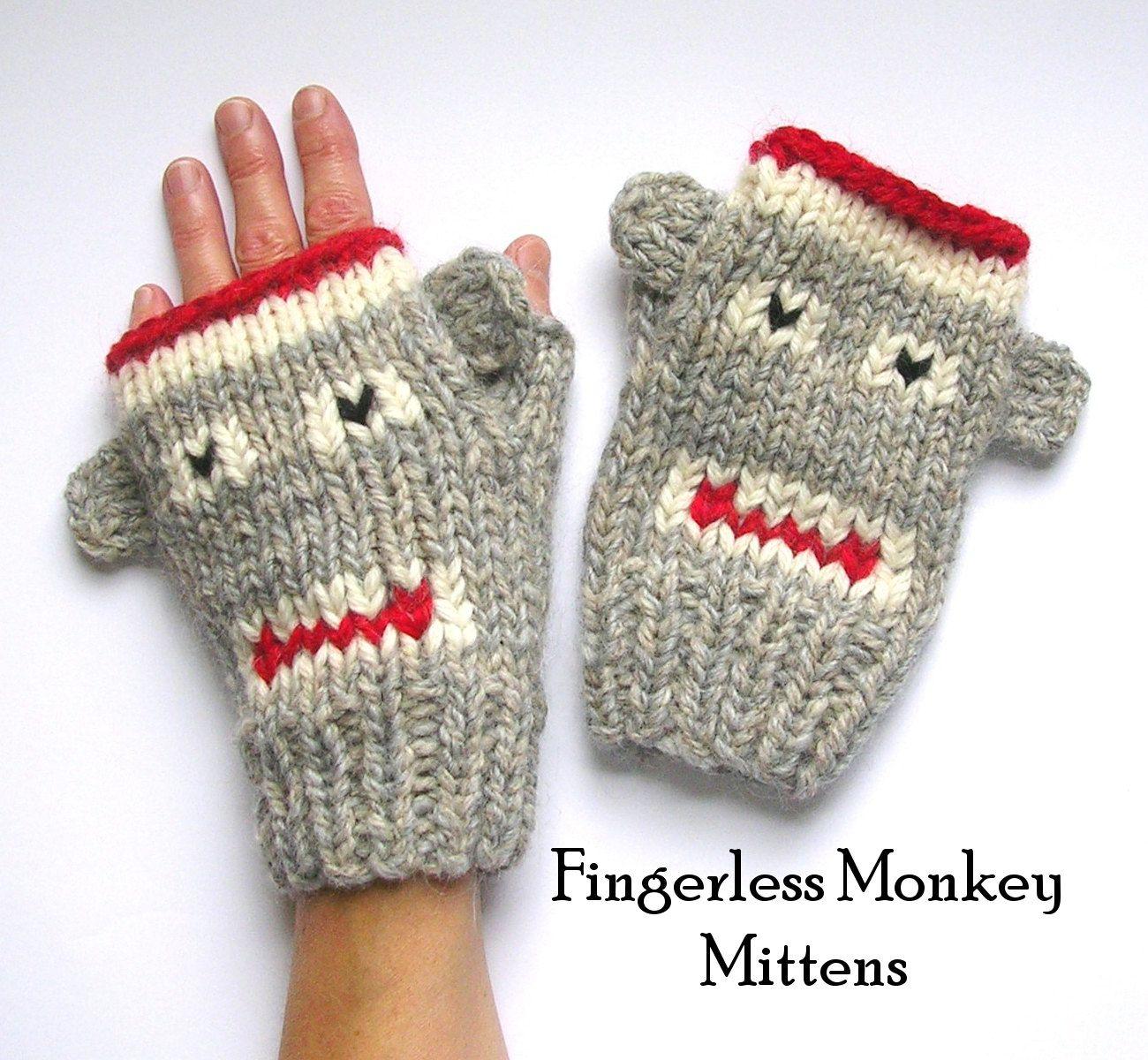 Etsy: Fingerless Monkey Mitten Knitting Pattern PDF Sock-Monkeys 4 ...