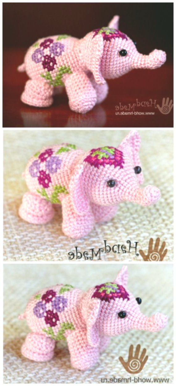 Crochet Elephant Softie and More Free Patterns Tutorials #crochetelephantpattern