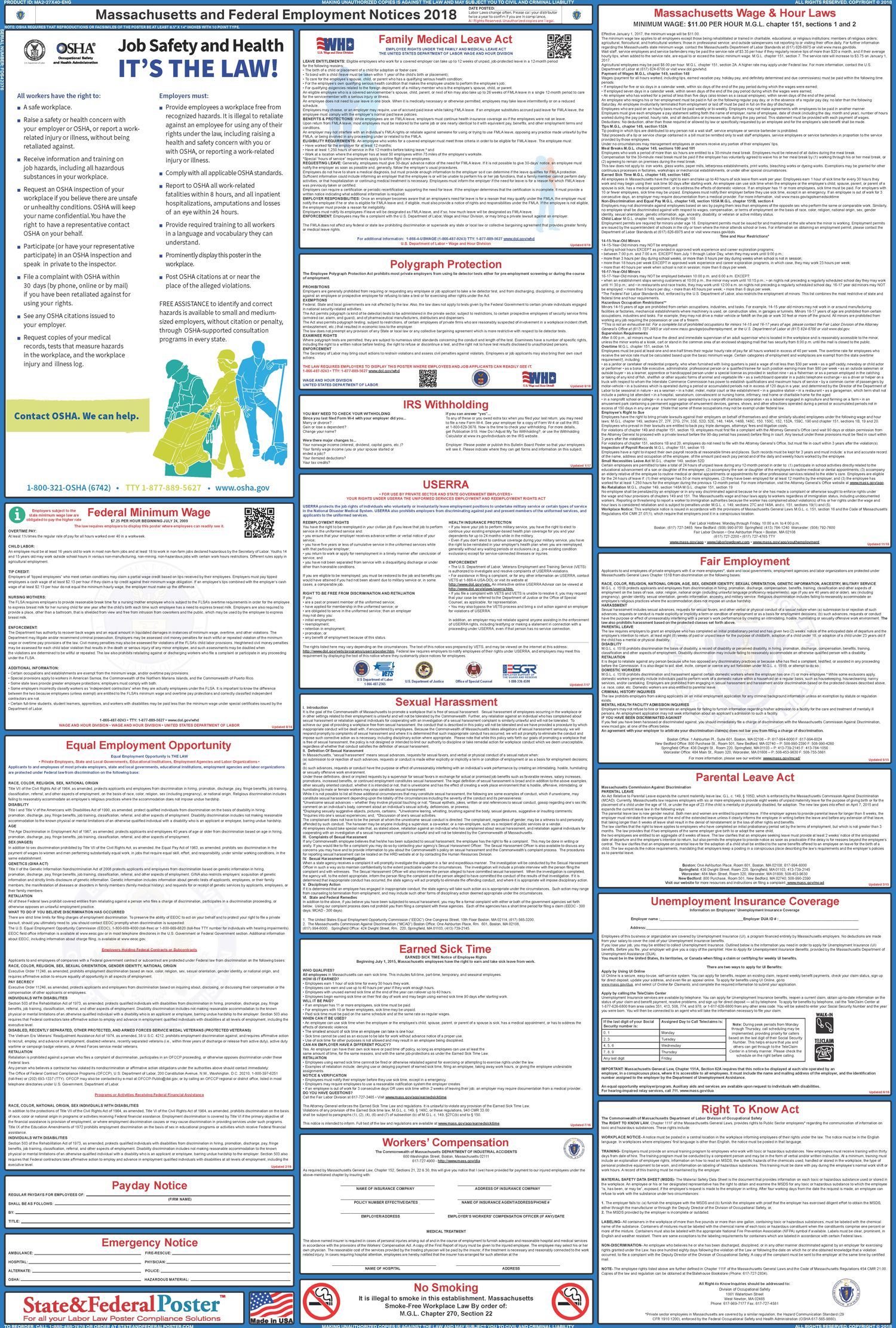 Massachusetts State And Federal Labor Law Poster 2017 2018 With