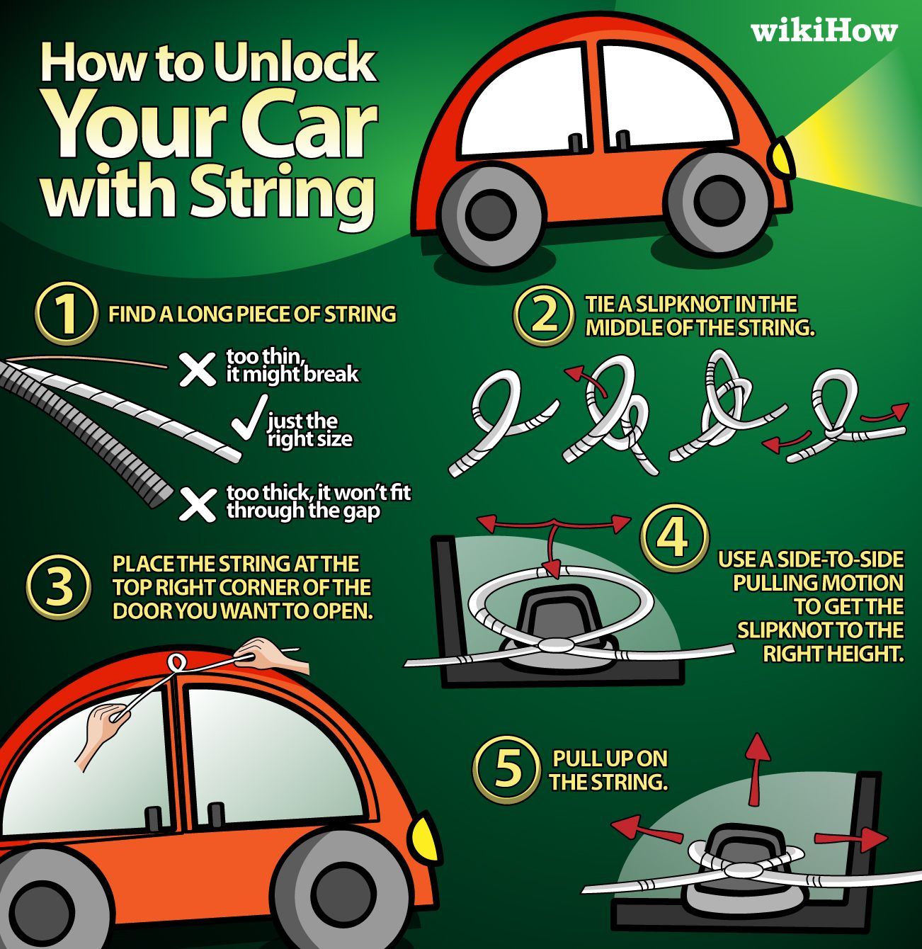 unlock your car with string cars life hacks and survival. Black Bedroom Furniture Sets. Home Design Ideas