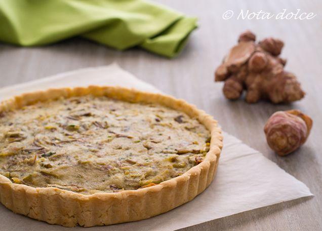 Torta salata con topinambur e carciofi ricetta facile