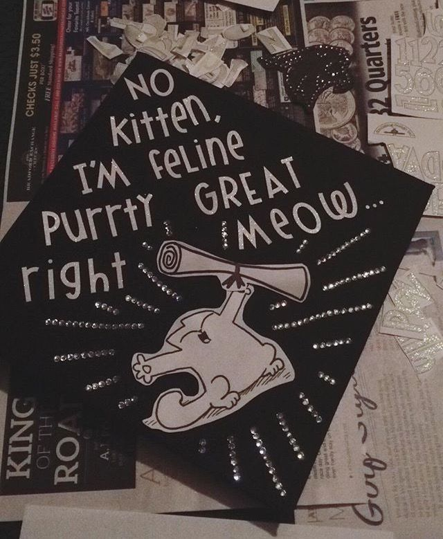 """No kitten, I'm feline purrty great right meow""  My Cat Pun Graduation Cap decoration!"