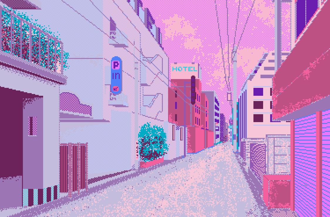 City Street Disappear Into A Shiny City Pinterest Pixel Art