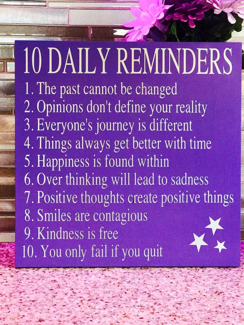 10 DAILY REMINDERS .. Motivation Sign/Quarantine G
