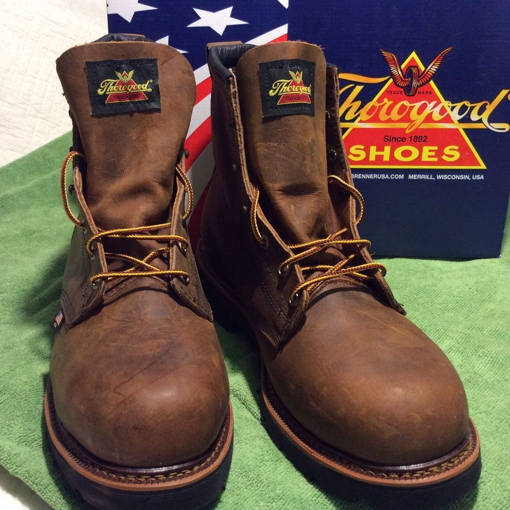 b63612a2775 Thorogood Brown Leather Steel Toe Slip Resistant Work Boot Made in ...