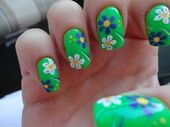 Photo of Green flowers  Nail Art Gallery by NAILS Magazine