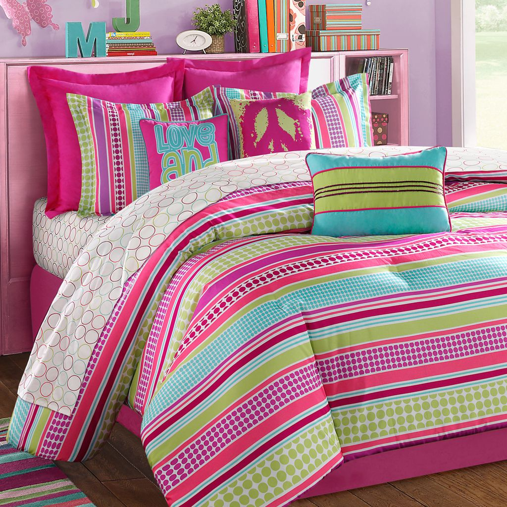 Girls comforters and bedspreads stipple teen bedding pink aqua lime purple bedding teen - Cute teenage girl bedding sets ...