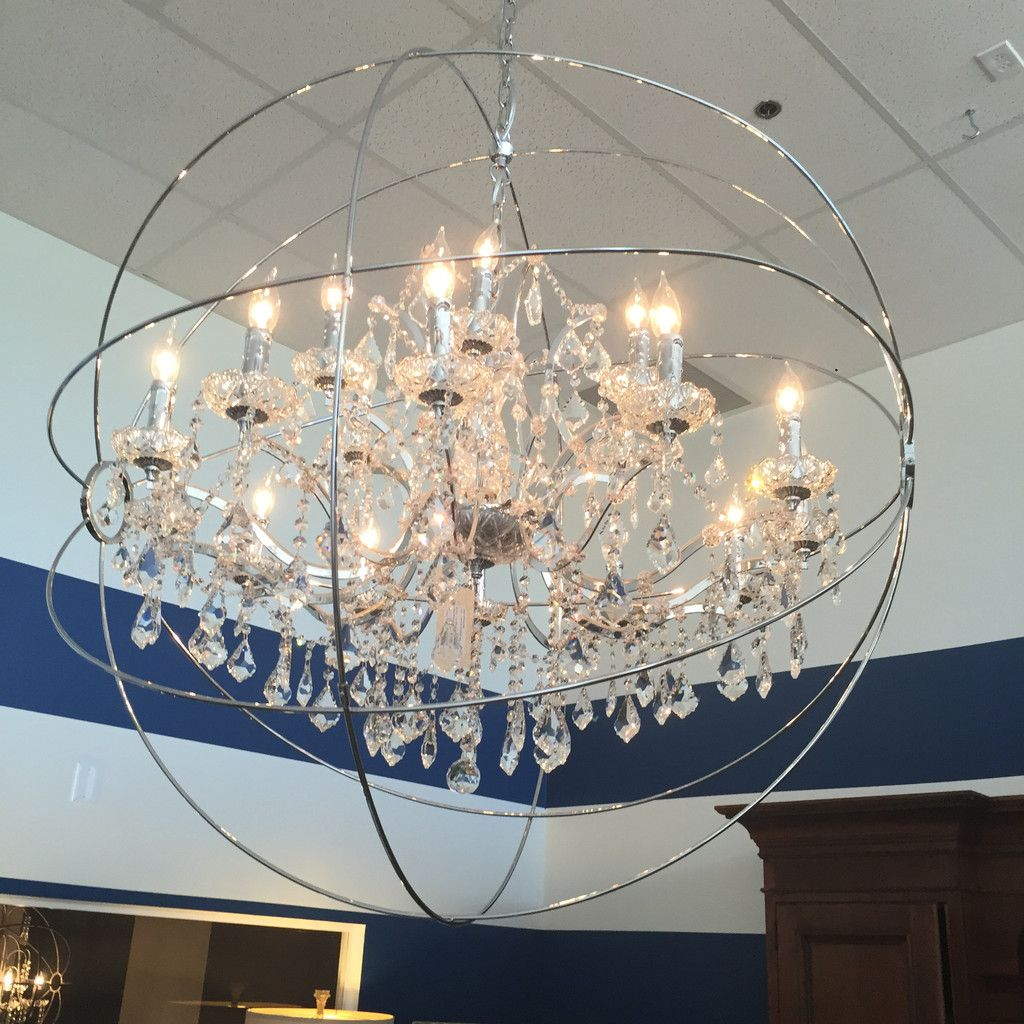 Large sphere chandeliercrystalchrome finish 395l adjain 44 large crystal sphere chandelier aloadofball Image collections