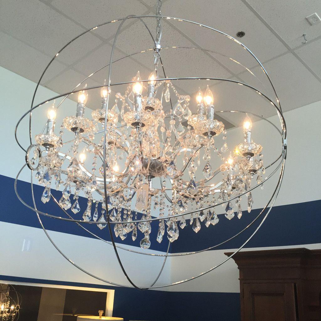 Large Sphere Chandelier Crystal Chrome Finish 39 5l Adj Chain 44