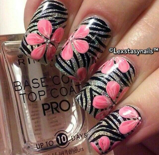 Tough nails, zebra and flowers