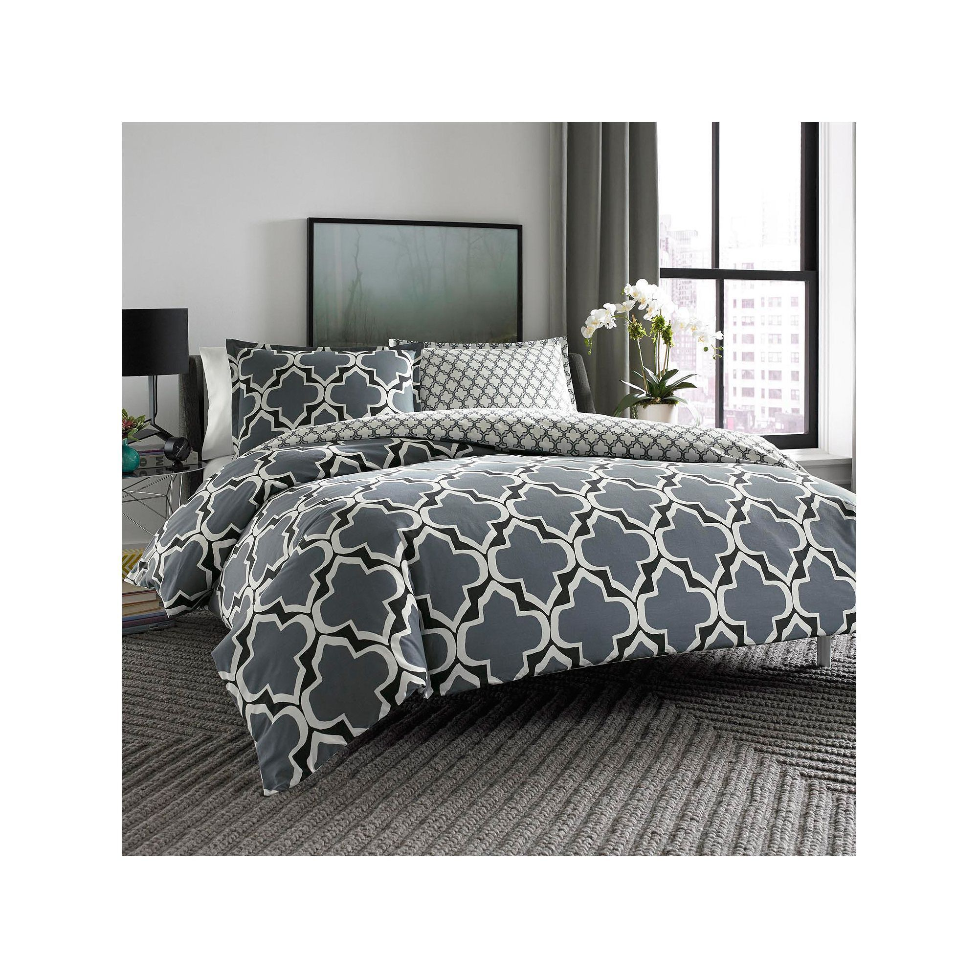 city scene brodie reversible duvet cover set grey 204919 bedding