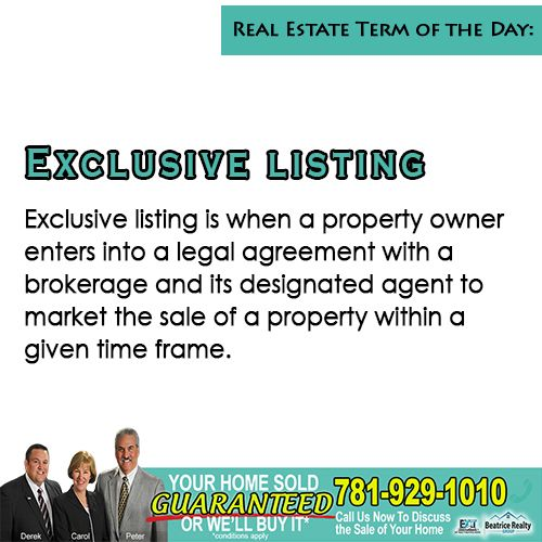 #TipTuesday New real estate term and definition to guide you in your real estate journey!   ♦ Exclusive listing is when a property owner enters into a legal agreement with a brokerage and its designated agent to market the sale of a property within a given time frame.  ♦ In most cases, the agent earns the commission no matter how a buyer is found. #RealEstateTerms #TipTuesday #NorthShoreRealEstate #GreaterBostonRealEstate #TheBeatriceRealtyGroup  #Middleton #Topsfield #GreaterBoston #NorthShore