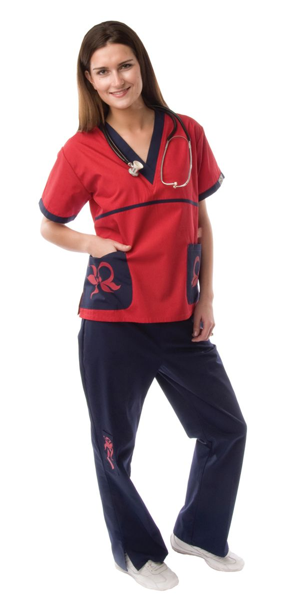 This red designer top has its own unique personality. It has a great flattering V-neckline. The contrast embroidery allows the shirt to make a statement