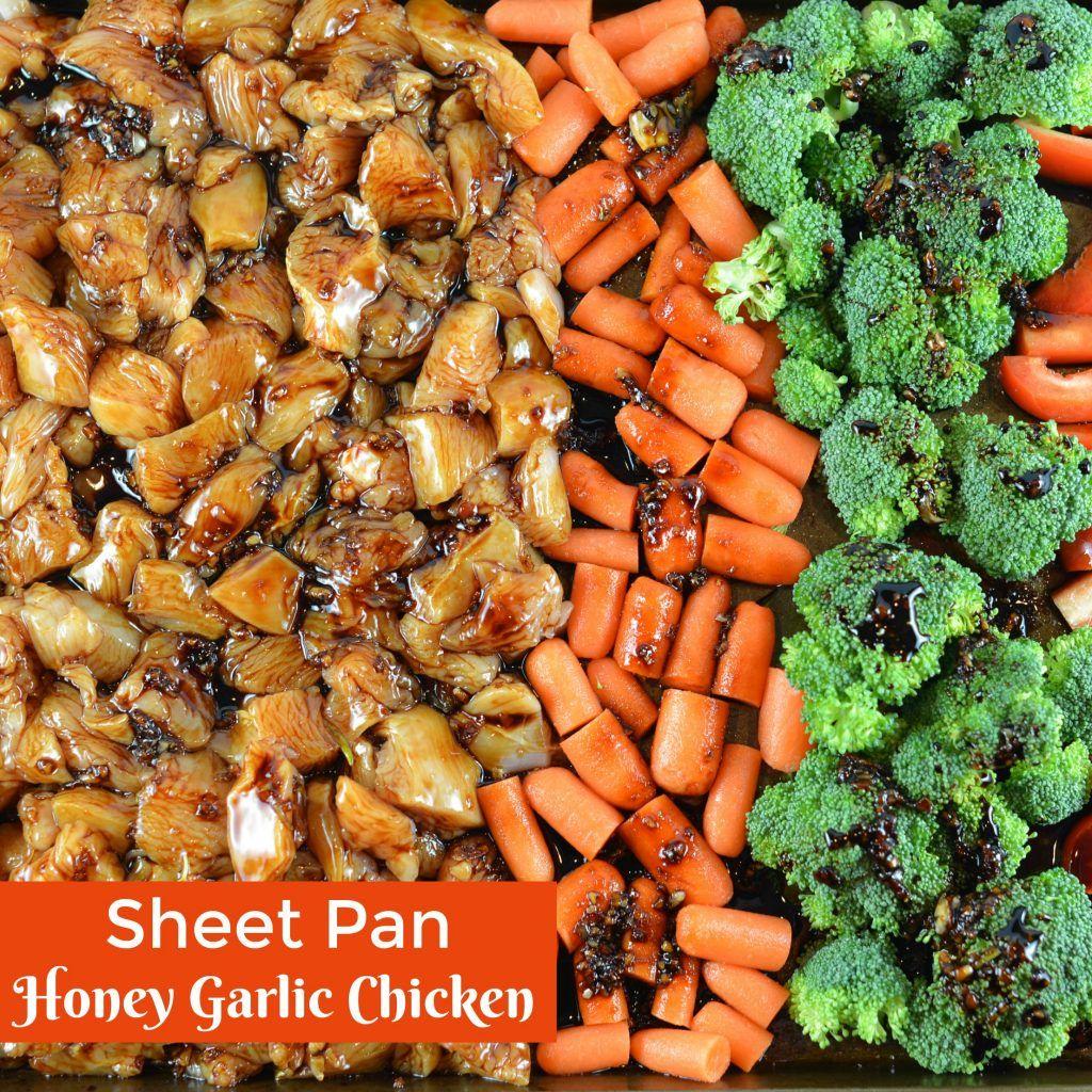 Sheet Pan Honey Garlic Chicken is an easy sheet pan dinner that's packed with flavor. An easy chicken recipe ready in just 30 minutes. #sheetpanmeals #honeygarlicchicken #easychickenrecipe www.savoryexperiments.com #onepandinnerschicken