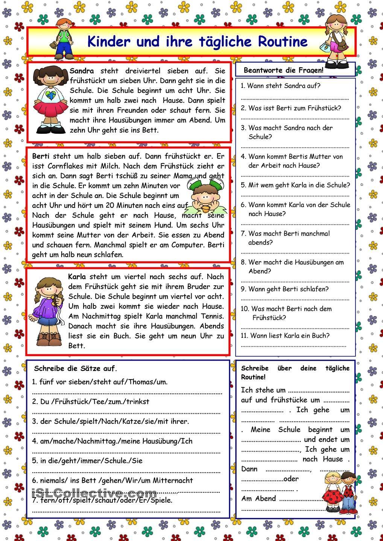Kinder und ihre tägliche Routine (+Lösung) | Vokab | Pinterest ...