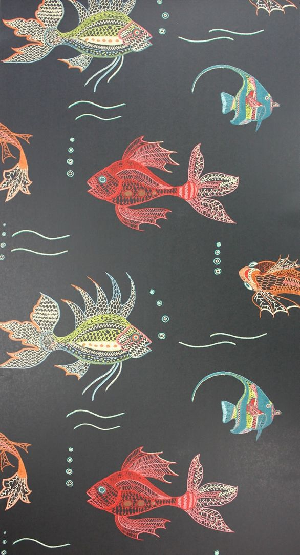 Osborne & Little: NCW3833-01-- Aquarium wallpaper. The fantastical marine life would be cute in a powder room. I think I like the dramatic, dark background better than this paper with a light background.