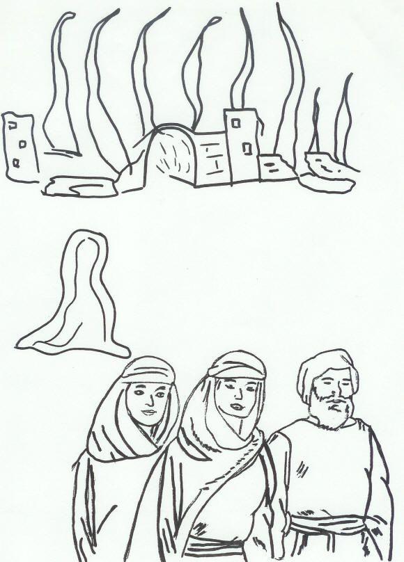 lot en zijn dochters en zijn vrouw als een zuil van zout