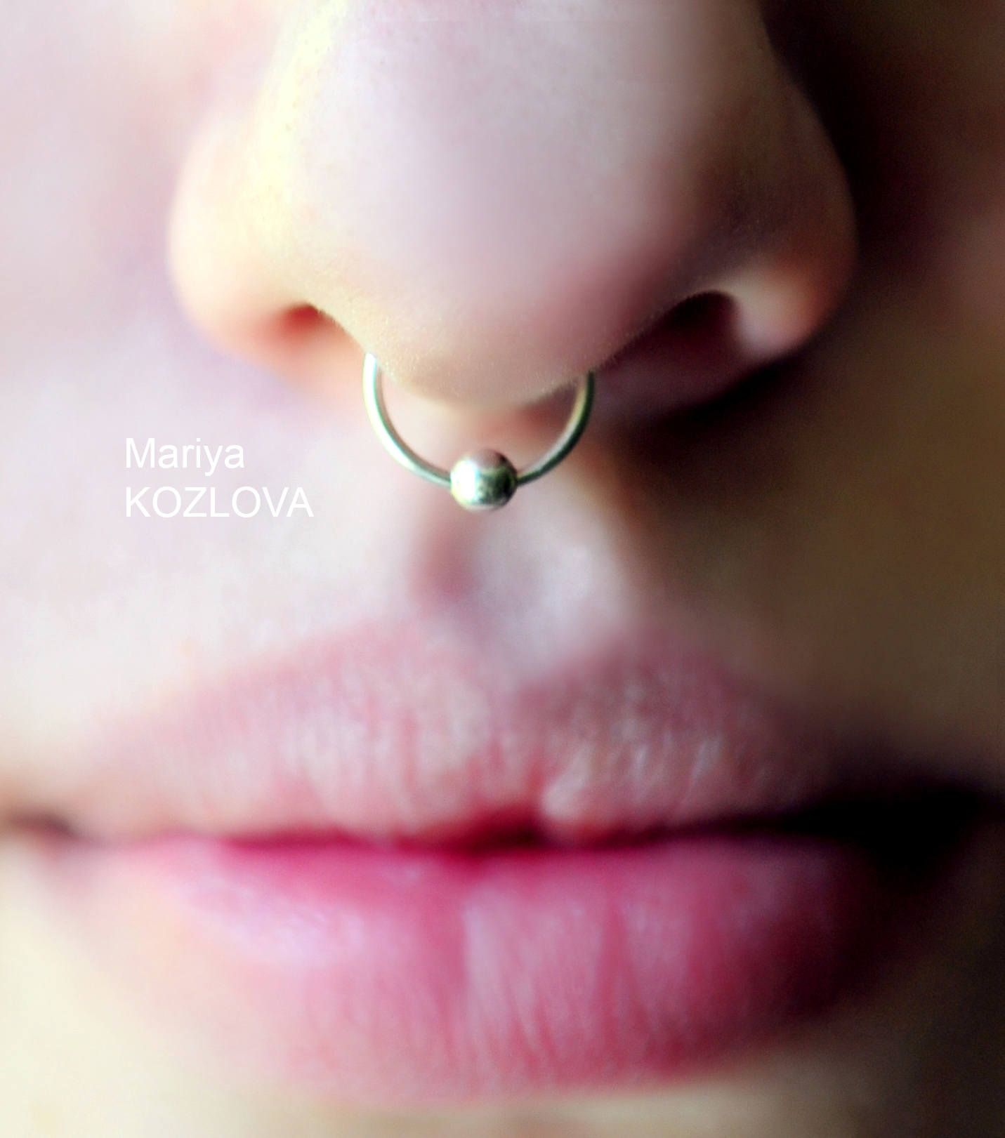 Fake piercing nose small ball golden anodized