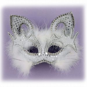 Fancy White Cat Venetian Mask. Like the cat ears - obviously - the fluff, but the over eye details the best.