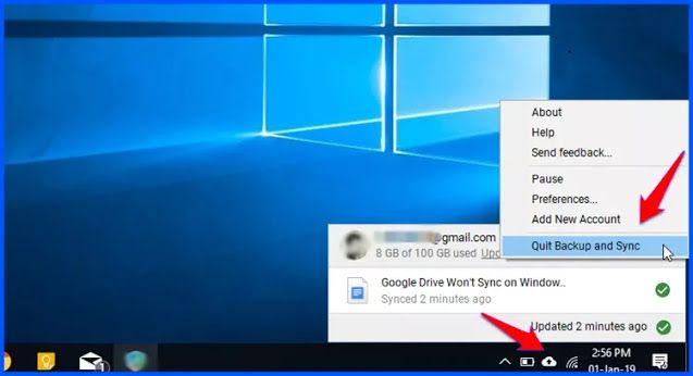 حل مشكلة عدم مزامنة Google Drive في ويندوز 10 Windows 10 Windows Desktop Screenshot