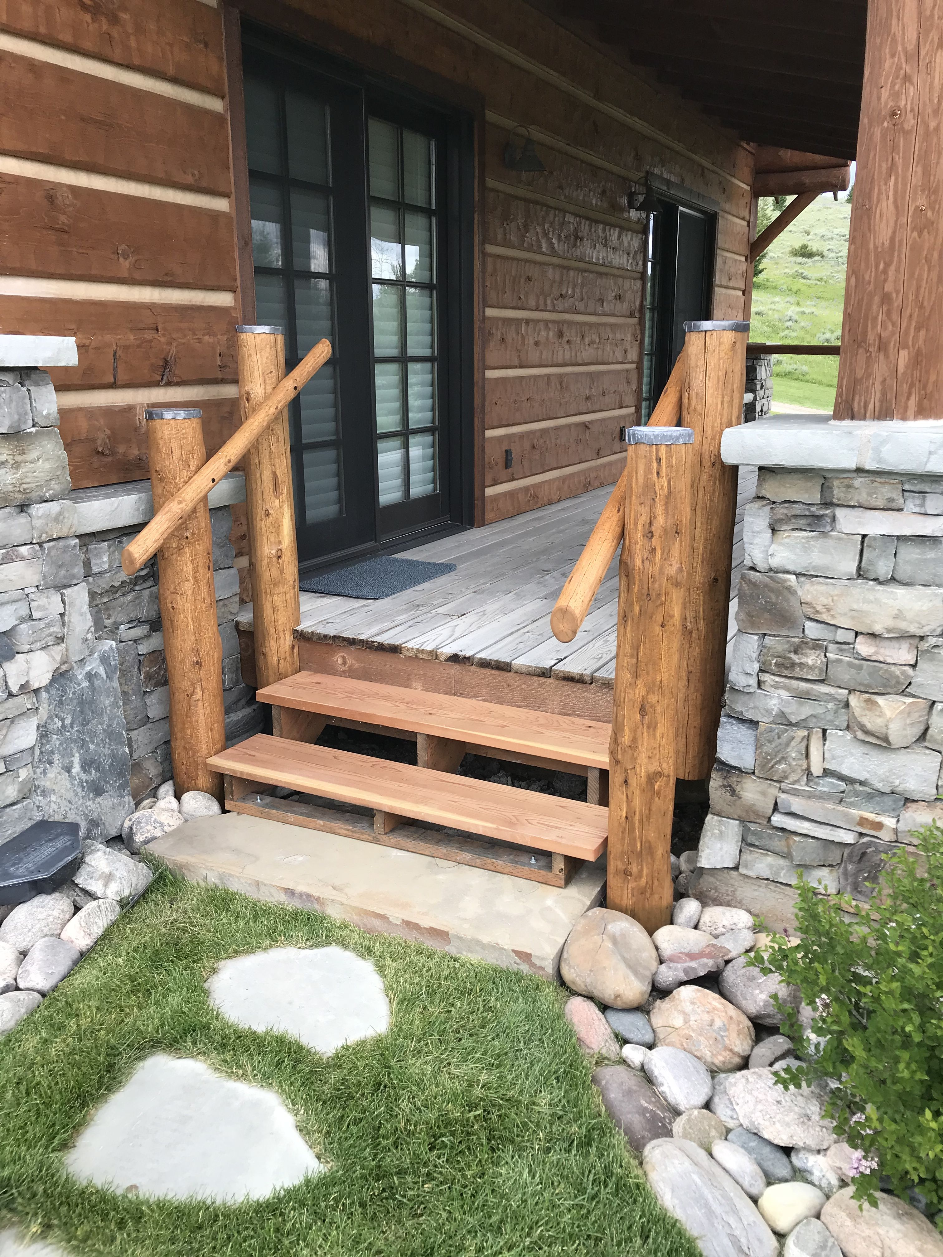 Best Redwood Stairs With Hand Peeled Log Posts And Grab Rails 400 x 300