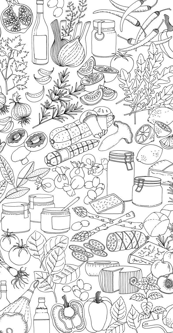 Pin By Sharon Pewzner On Menu Design Illustration Food Drawing Coloring Pages
