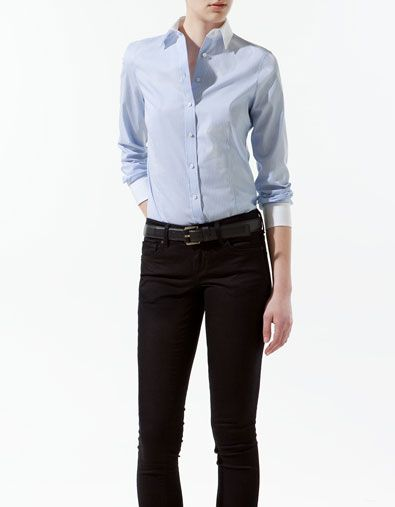zara woman combined office. SHIRT WITH COMBINED COLLAR AND CUFFS - Shirts Woman ZARA Finland Zara Combined Office