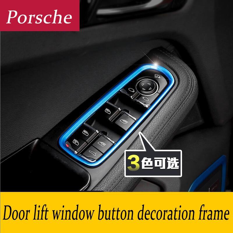 Car Styling Interior Door Window Lift Switch Panel Buttons Frame Decoration Cover 3d Tickers For Porsche Panamera C Frame Decor Doors Interior Porsche Panamera