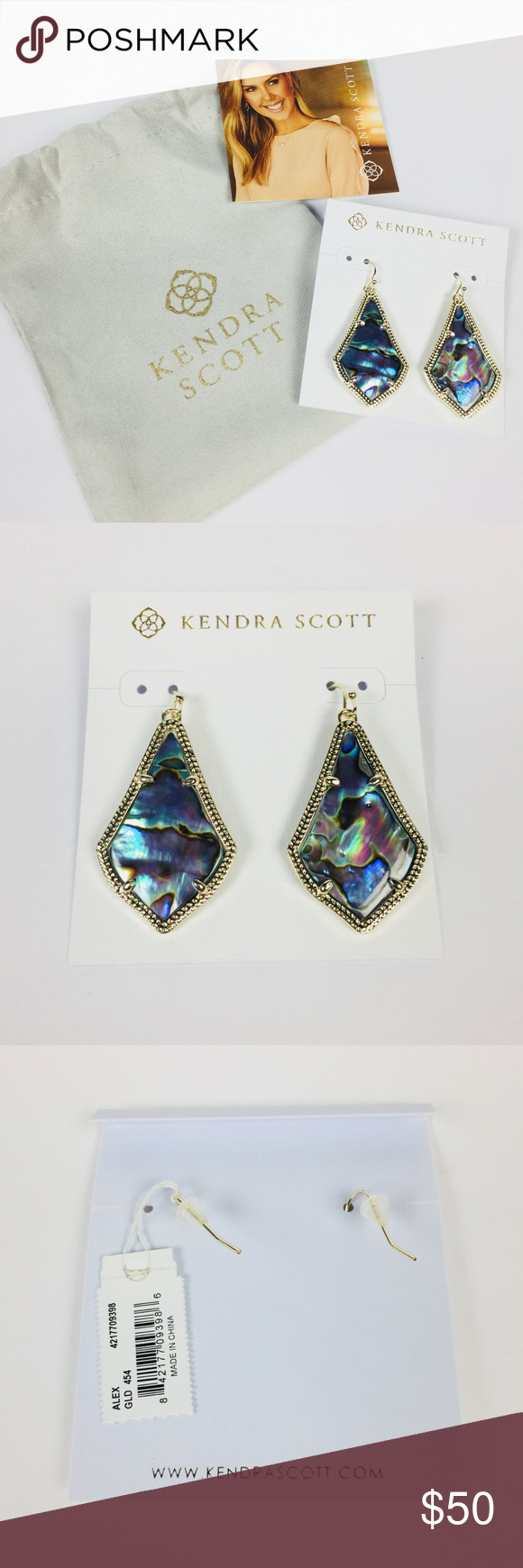 f2bd4c6b2cad Kendra Scott Alex Earring Gold Abalone Shell NWT DETAILS A classic  silhouette in a delicate metallic frame