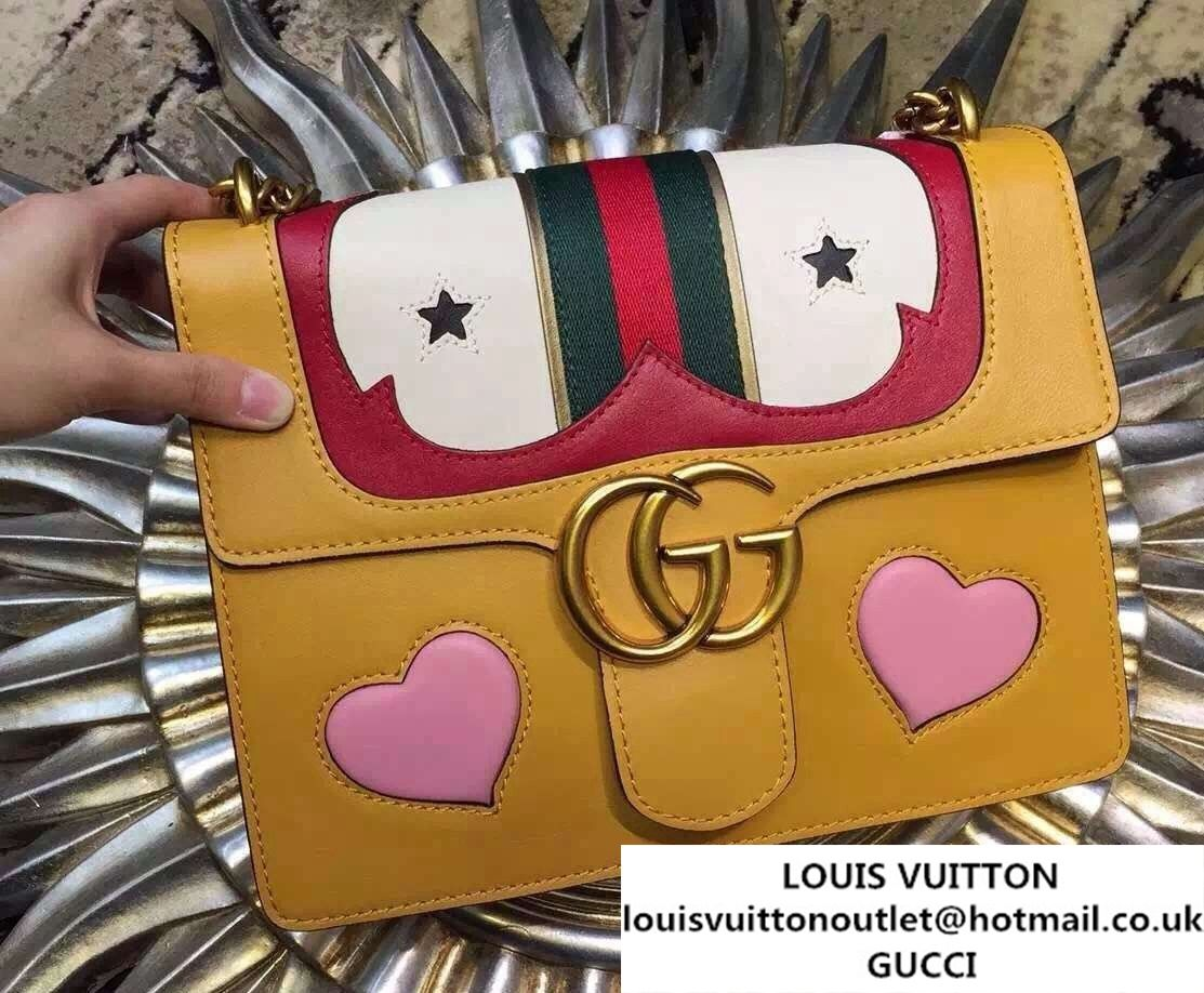47f35faeede Gucci Heart Leather Shoulder Bag 413718 Yellow 2016