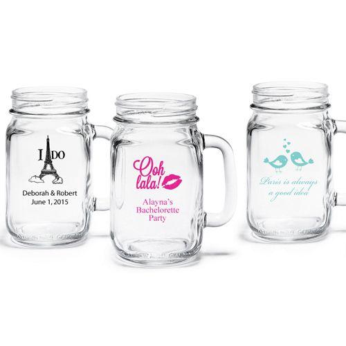 Paris Personalized Mason Jar Drinking Glass Personalized Mason Jars Mason Jars Stemless Wine Glass Favors