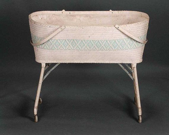 Vintage Mid Century White With Aqua Wicker Bassinet Baby