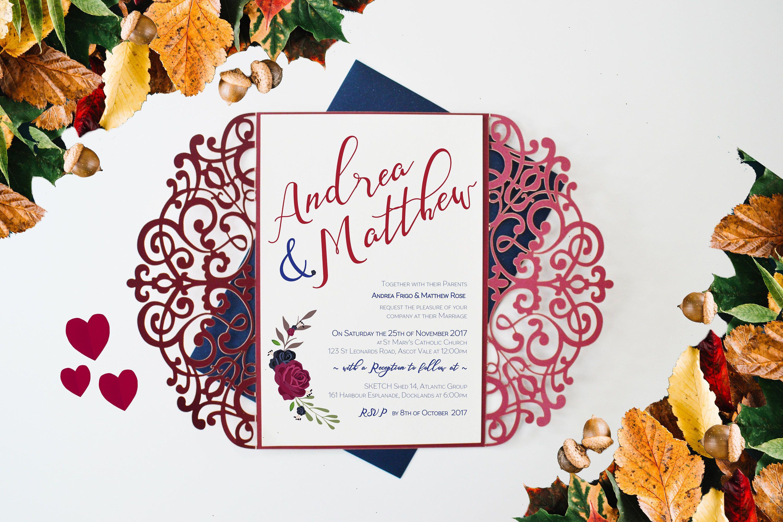 Burgundy Invitation, Laser Cut Invitation, Deep Red Wedding ...