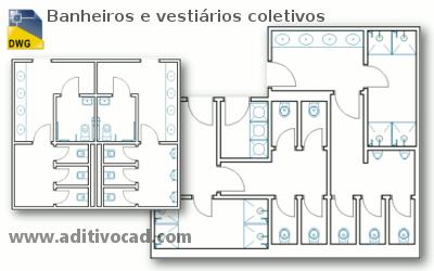 Banheiro coletivo planta baixa
