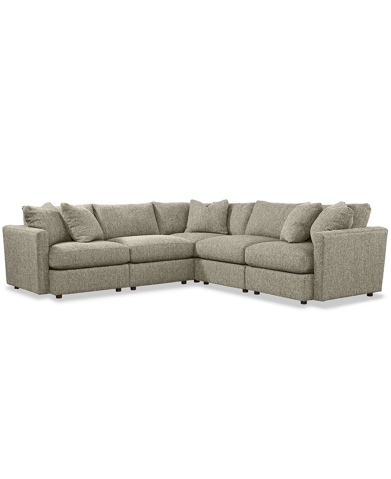 Clinton Fabric 5 Piece Sectional with 2 Armless Chairs Created