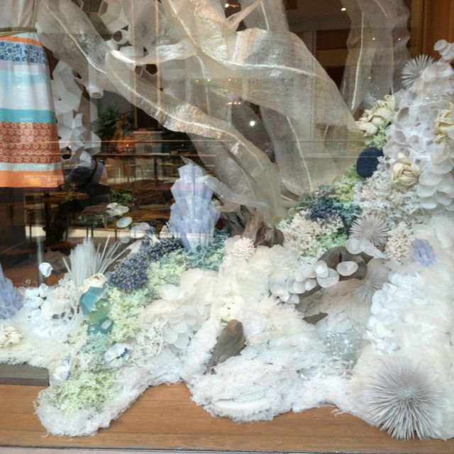 Anthropologie window display. Coral reef made of tissue paper and styrofoam.