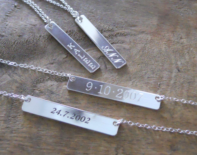 Laser Engraved Silver Bar Necklace, Silver Bar Necklace, Name Bar Necklace, Personalized Silver Necklace, Layered Silver Bar Necklace, #302