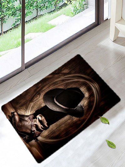 West Cowboy Style Boots Hat Printed Bath Rug Rugs On Carpet Rugs Cowboy Rugs