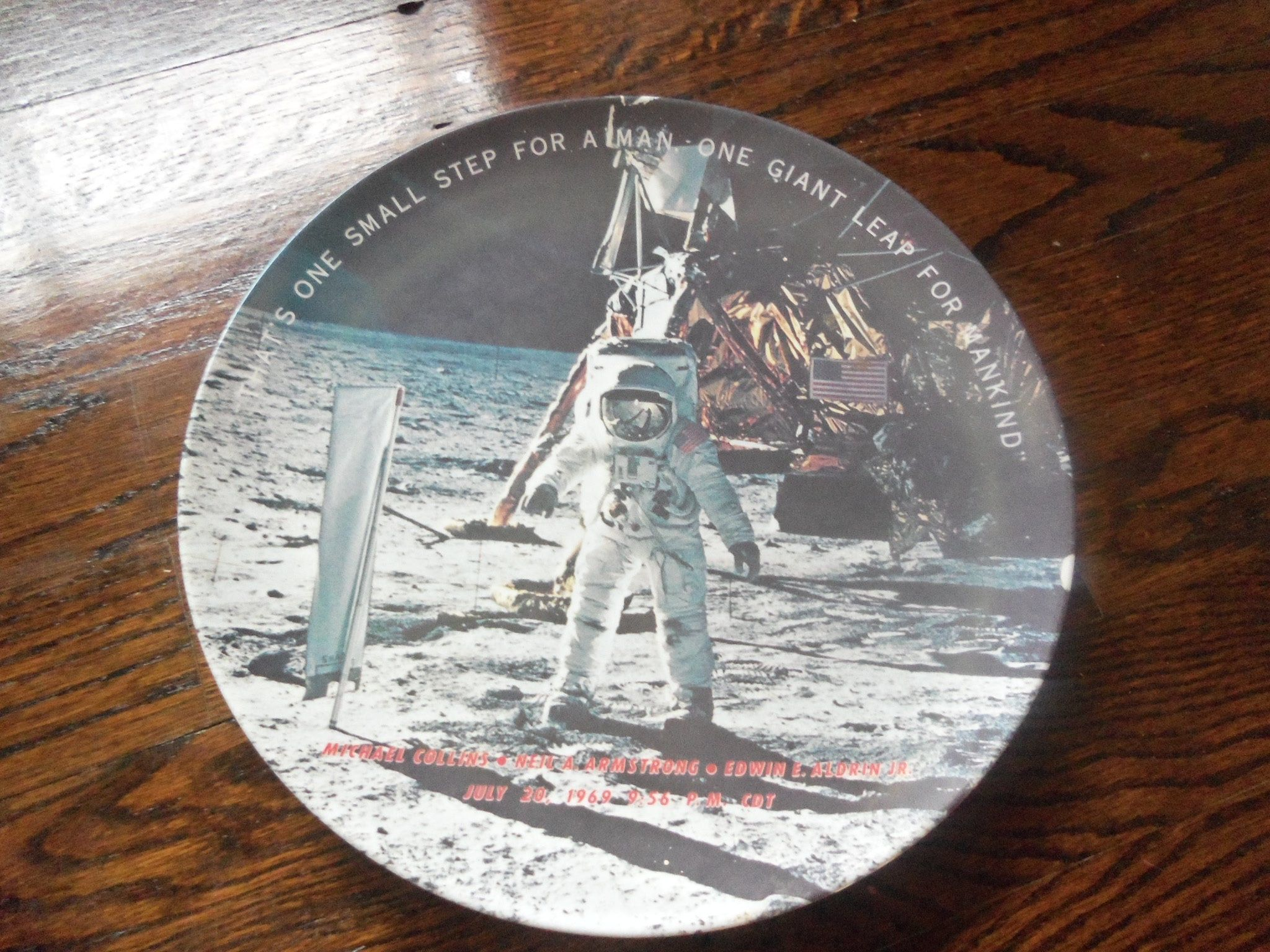 Vintage Neil Armstrong Commemorative Plate Moon Landing Texas Ware 1969 One Giant Leap For Mankind