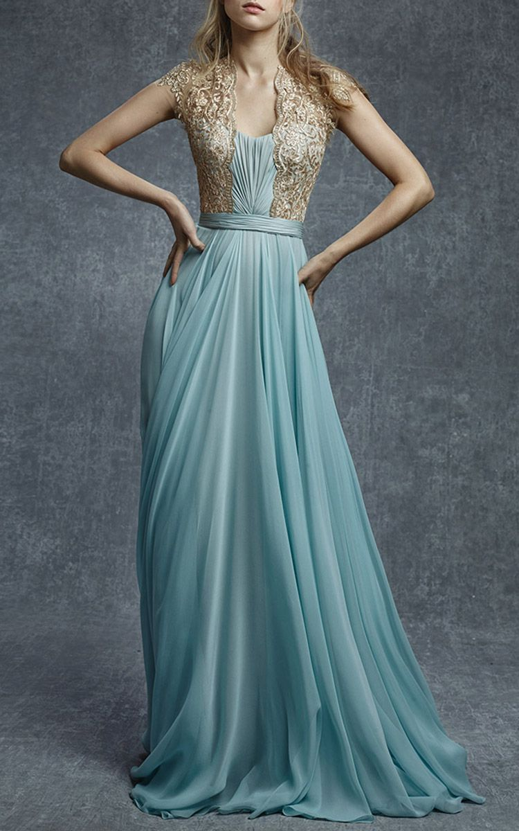 Embroidered illusion silk chiffon gown by reem acra for preorder on