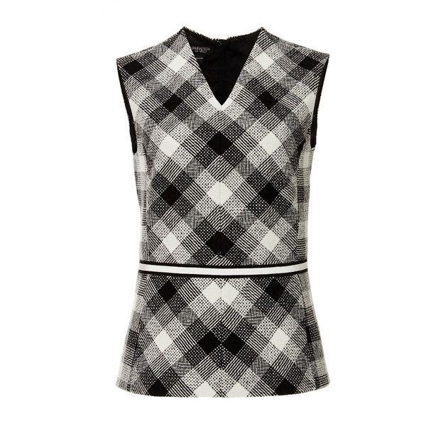 Giambattista Valli Virgin Wool Sleeveless Checkered Top (€325) ❤ liked on Polyvore featuring tops, black sleeveless top, floral top, giambattista valli, floral print sleeveless top and black top