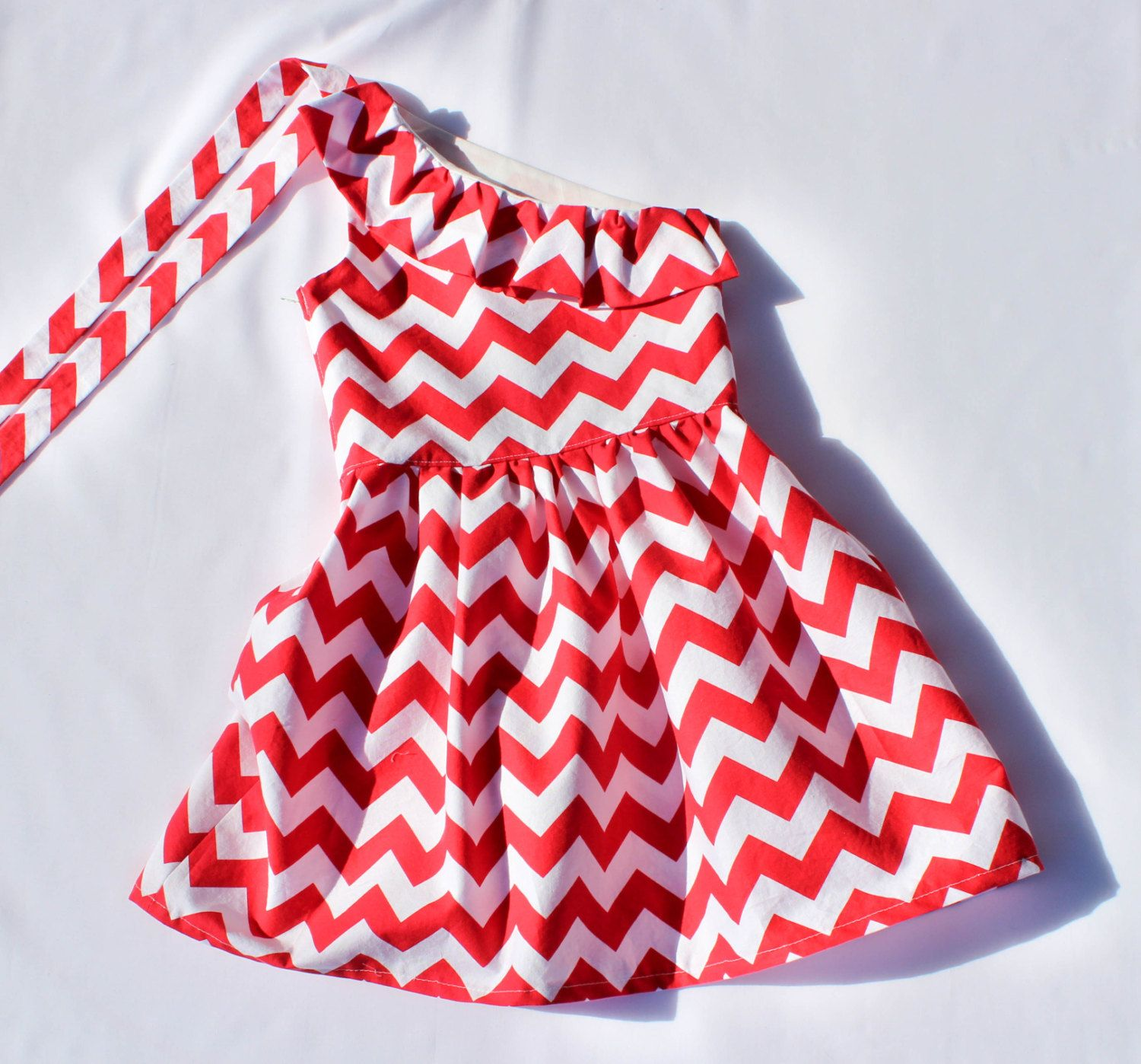 Girls Dress. Red Chevron One Shoulder Ruffle Dress for Girls. Size ...