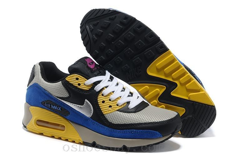 Nike Air Max 90 Womens Shoes Black Silver Royal Yellow Pink