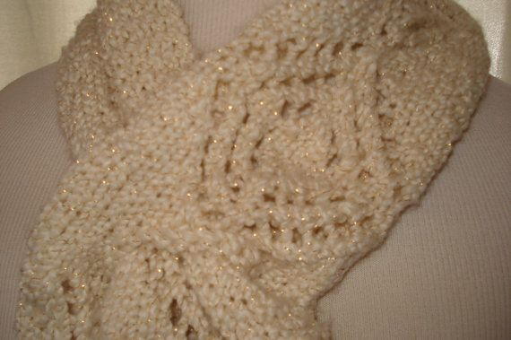Ivory and Gold Scarf by joandben on Etsy, $27.00