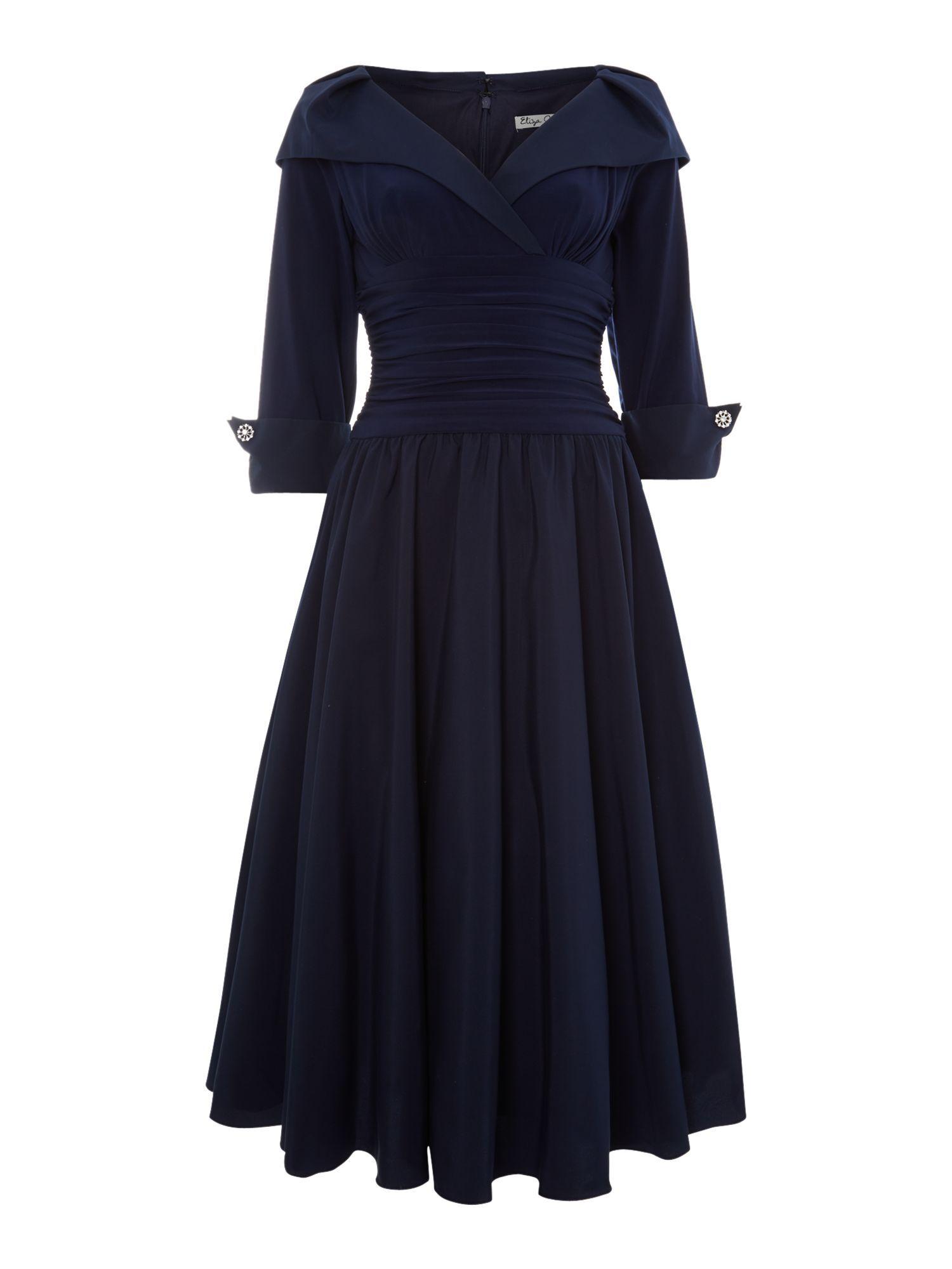 350842b2492f2c Eliza J 3 4 sleeve ruched waist dress offers enviable Hepburnesque  elegance