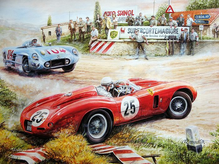 Vintage Cars And Racing Scene Automotive Art Of Vaclav Zapadlik Vintage Car Racing Scene Automotive Art O Automotive Art Auto Racing Art Vintage Race Car