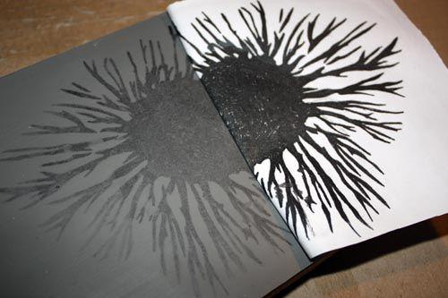 Putting the image on the linoleum block using photocopy transfer tutorial by artlikeart.com