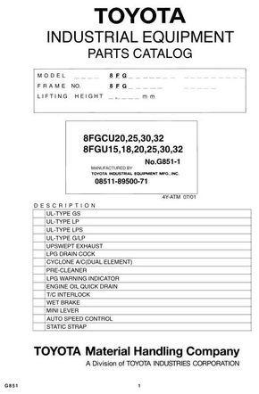 Toyota 8FGU15/18/20, 8FGU25, 8FGU30, 8FGU32, 8FGCU20, 8FGCU25 ...