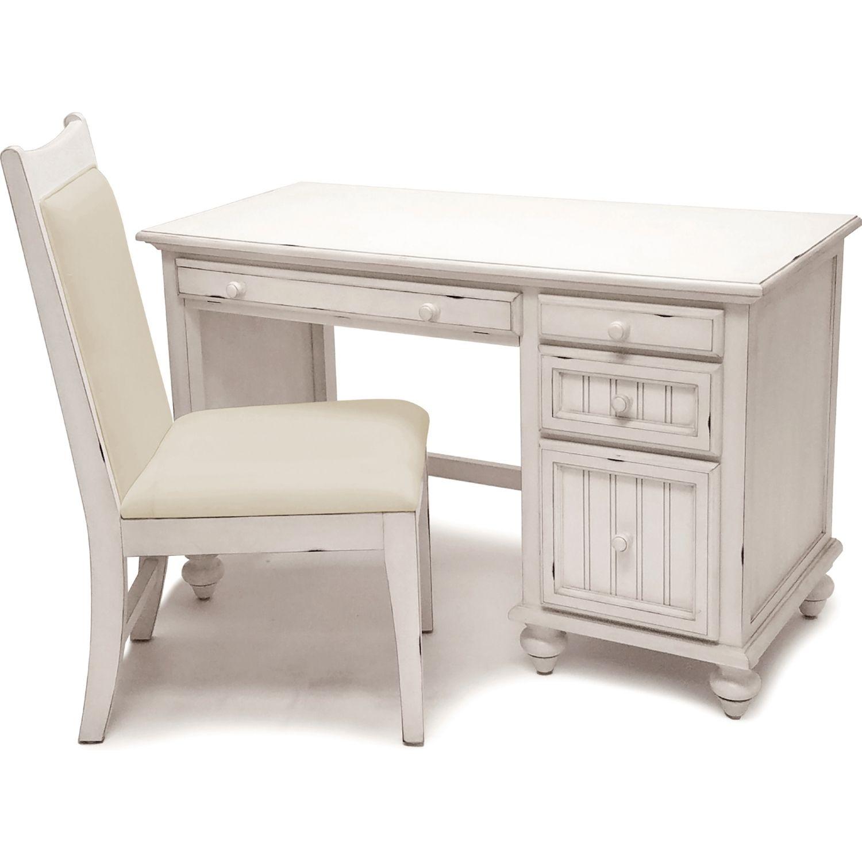Sea Winds B81874 Blanc Monaco Desk Chair Set Lightly Distressed White Wood White Distressed Desk Desk Chair Desk
